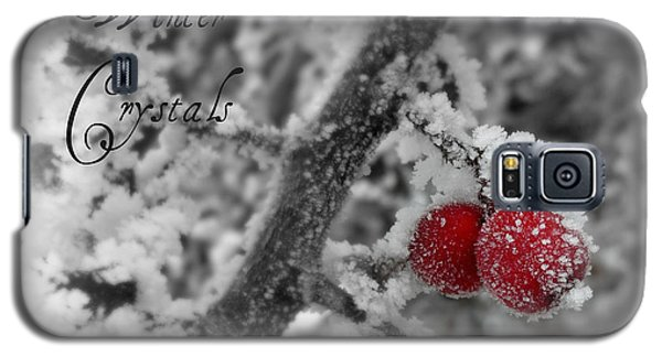 Galaxy S5 Case featuring the photograph Winter Crystals On Red by Heidi Manly