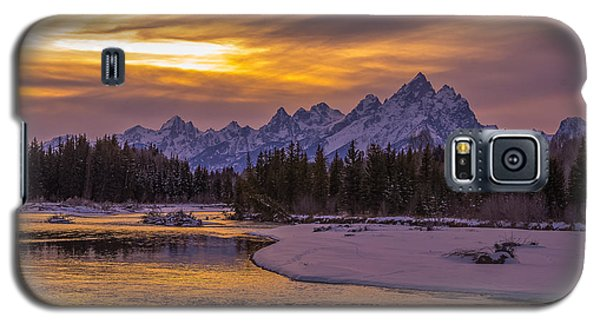 Winter Glow Over The Tetons Galaxy S5 Case by Yeates Photography