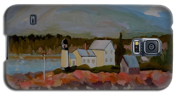 Galaxy S5 Case featuring the painting Winter Harbor Light by Francine Frank