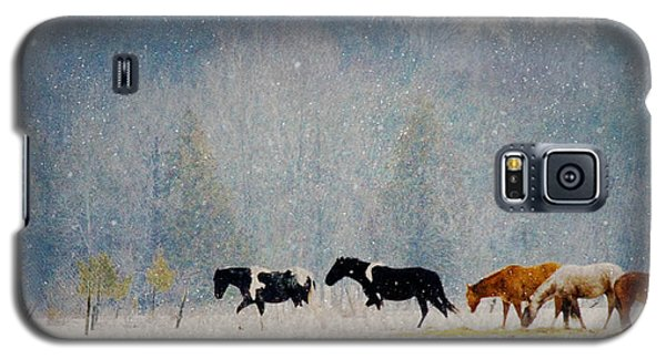 Galaxy S5 Case featuring the photograph Winter Horses by Ann Lauwers