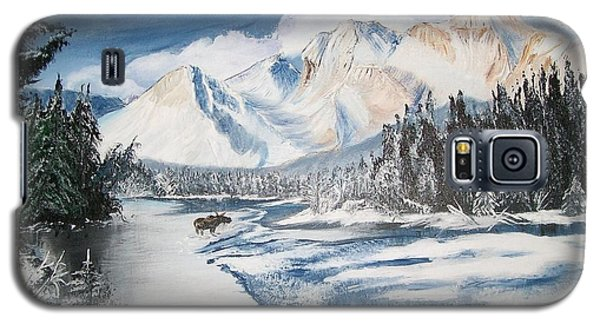 Galaxy S5 Case featuring the painting Winter In The Canadian Rockies by Sharon Duguay