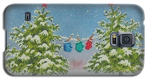 Galaxy S5 Case featuring the painting Winter Is Fun by Mary Ellen Mueller Legault