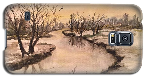Galaxy S5 Case featuring the painting Winter Lake Scene by Lucia Grilletto