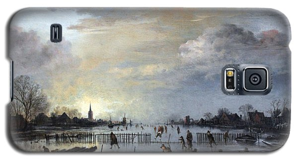 Galaxy S5 Case featuring the painting Winter Landscape With Skaters by Gianfranco Weiss