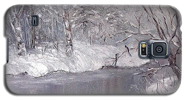 Galaxy S5 Case featuring the painting Winter by Nina Mitkova