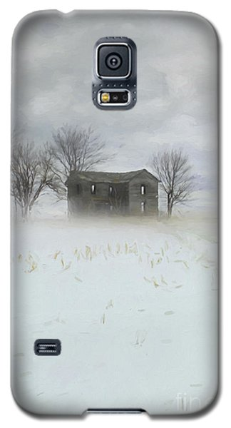 Winter Scene Of A Farmhouse/digital Painting Galaxy S5 Case