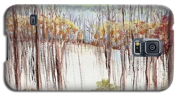 Galaxy S5 Case featuring the painting Winter Scene Tracks by Christina Verdgeline