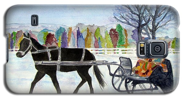 Galaxy S5 Case featuring the painting Winter Sleigh Ride by Carol Flagg