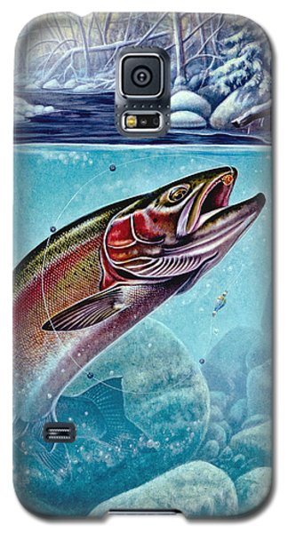 Galaxy S5 Case featuring the painting Winter Steelhead by Jon Q Wright