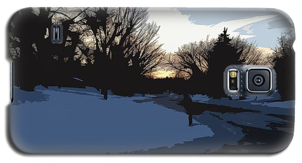 Galaxy S5 Case featuring the digital art Winter Sunset by Kirt Tisdale