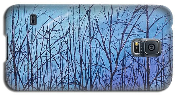 Galaxy S5 Case featuring the painting Winter Trees Against A Blue Sky by Ellen Canfield