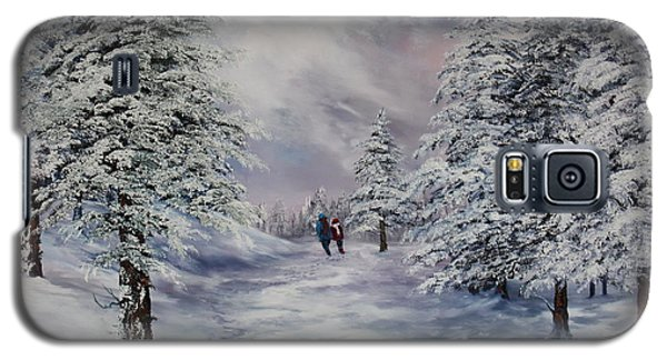 Galaxy S5 Case featuring the painting Winter Walk On Cannock Chase by Jean Walker