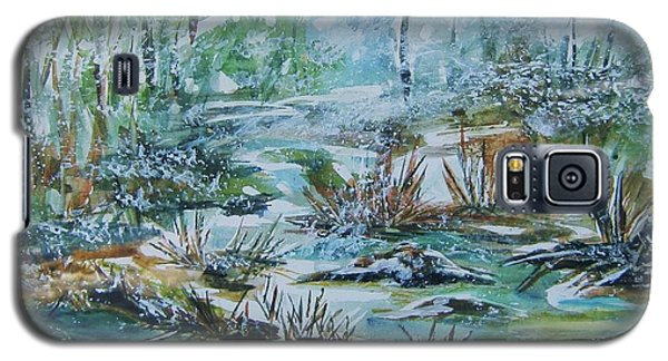 Galaxy S5 Case featuring the painting Winter Whispers On Catskill Creek by Ellen Levinson