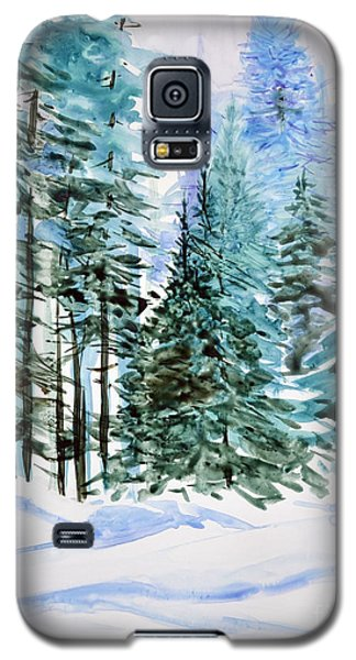 Galaxy S5 Case featuring the painting Winter Woods by Joan Hartenstein