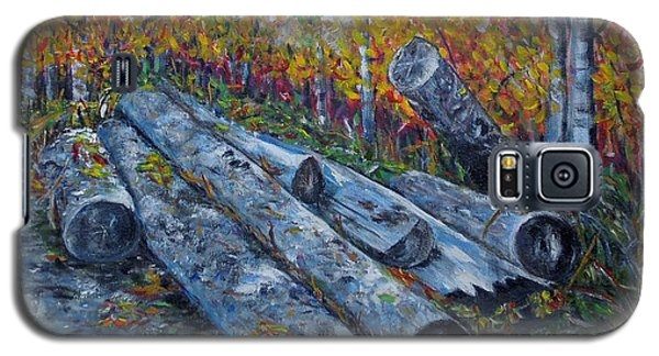 Galaxy S5 Case featuring the painting Winter's Firewood by Marilyn  McNish
