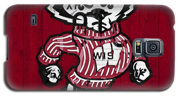 Wisconsin Badgers College Sports Team Retro Vintage Recycled License Plate Art Galaxy S5 Case by Design Turnpike