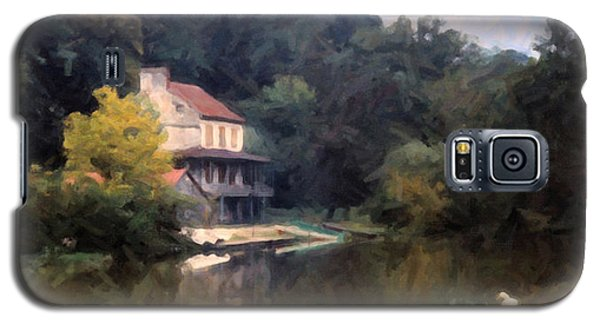 Galaxy S5 Case featuring the digital art A Duck And A House On The Canal by Spyder Webb