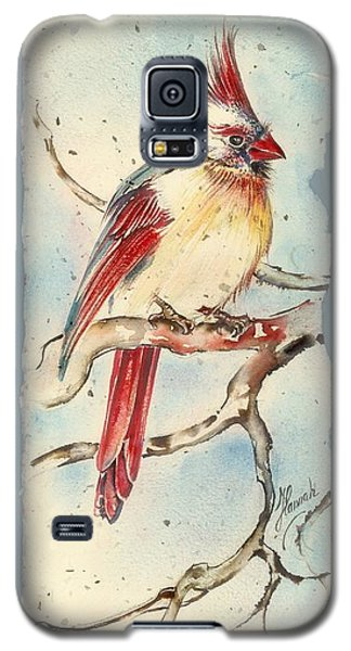 Galaxy S5 Case featuring the painting With Touches Of Red  by Anna Ewa Miarczynska