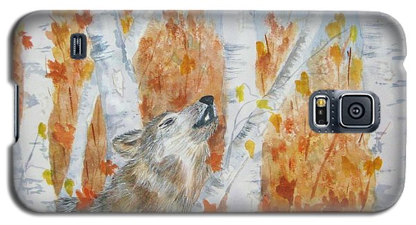 Galaxy S5 Case featuring the painting Wolf Call by Ellen Levinson