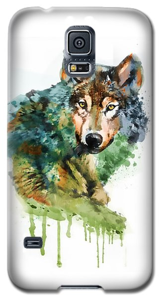 Wolf Face Watercolor Galaxy S5 Case by Marian Voicu