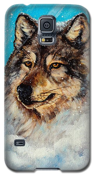Galaxy S5 Case featuring the painting Wolf In A Snow Storm by Bob and Nadine Johnston