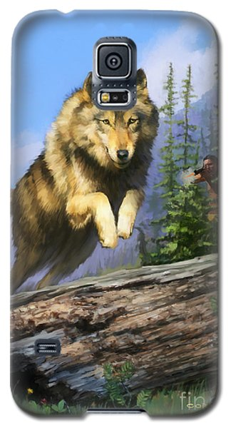 Galaxy S5 Case featuring the painting Wolf Run Indian Hunter by Rob Corsetti