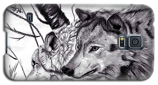 Galaxy S5 Case featuring the drawing Wolves by Mayhem Mediums