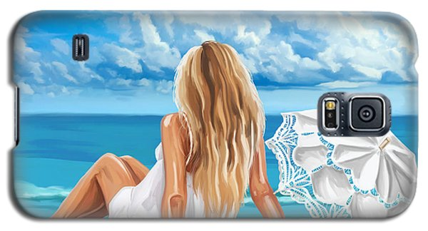 Woman At The Beach Galaxy S5 Case by Tim Gilliland