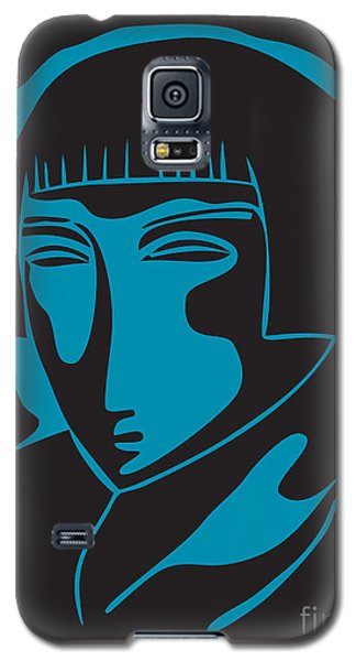 Woman Face  Black And Blue Galaxy S5 Case
