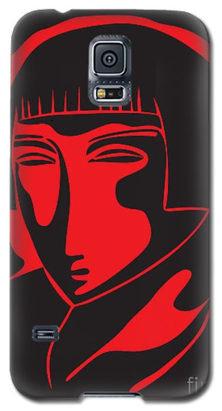 Woman Face  Black And Red Galaxy S5 Case