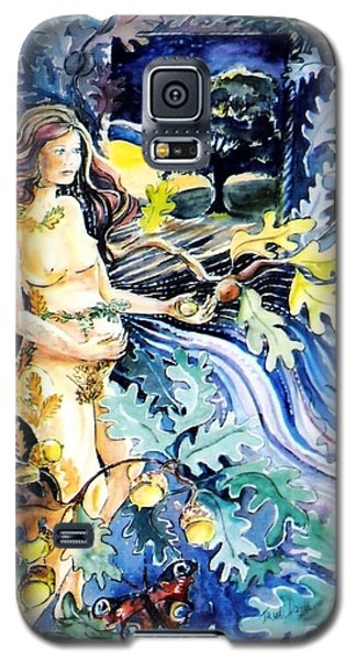 Galaxy S5 Case featuring the painting Woman Holding An Acorn -  by Trudi Doyle