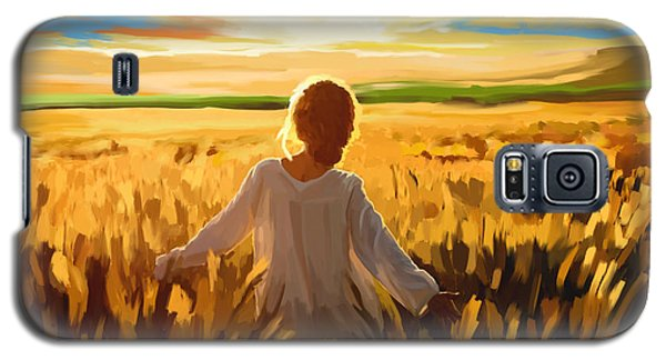 Woman In A Wheat Field Galaxy S5 Case by Tim Gilliland
