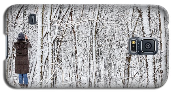 Woman In A Snow Covered Forest Galaxy S5 Case