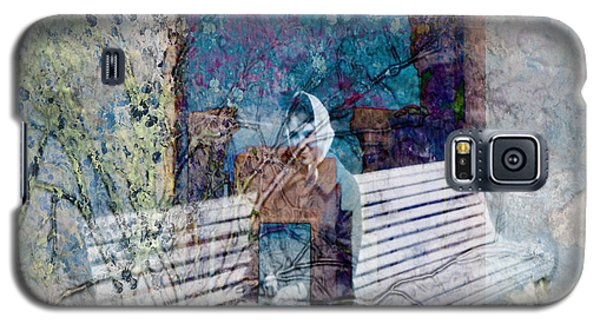 Galaxy S5 Case featuring the digital art Woman On A Bench by Cathy Anderson