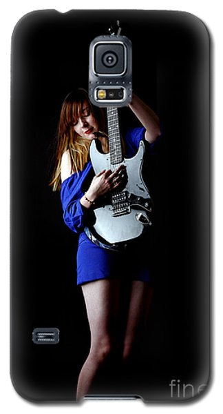 Woman Playing Lead Guitar Galaxy S5 Case