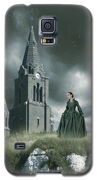 Woman Standing On A Cliff By A Church Galaxy S5 Case