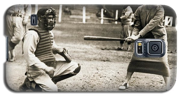 Woman Tennis Star At Bat Galaxy S5 Case by Underwood Archives