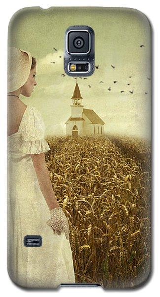 Galaxy S5 Case featuring the photograph Woman Walking Towards Old Church In Cornfield by Ethiriel  Photography