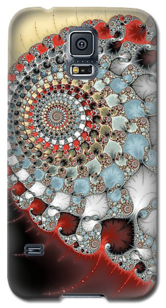 Wonderful Abstract Fractal Spirals Red Grey Yellow And Light Blue Galaxy S5 Case