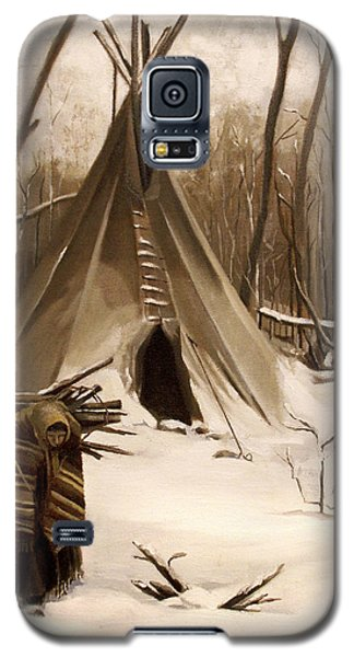 Galaxy S5 Case featuring the painting Wood Gatherer by Nancy Griswold