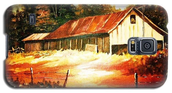 Galaxy S5 Case featuring the painting Woodland Barn In Autumn by Al Brown