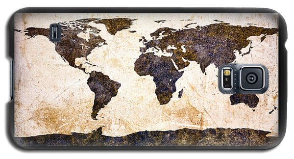 World Map Abstract Galaxy S5 Case by Bob Orsillo