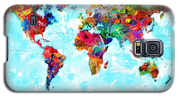 World Map Spattered Paint Galaxy S5 Case