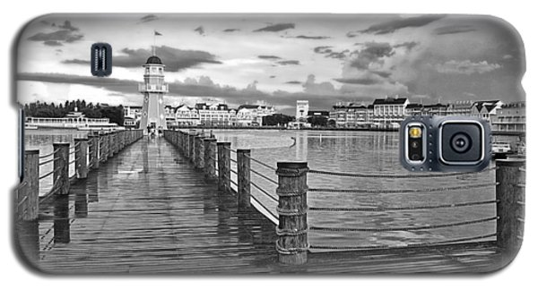Yacht And Beach Lighthouse In Black And White Walt Disney World Galaxy S5 Case
