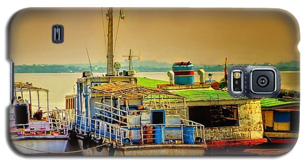 Galaxy S5 Case featuring the photograph Yangon Harbour by Wallaroo Images