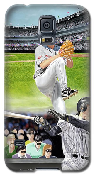 Galaxy S5 Case featuring the digital art Yankees Vs Indians by Thomas J Herring