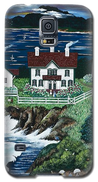 Galaxy S5 Case featuring the painting Yaquina Lighthouse by Jennifer Lake