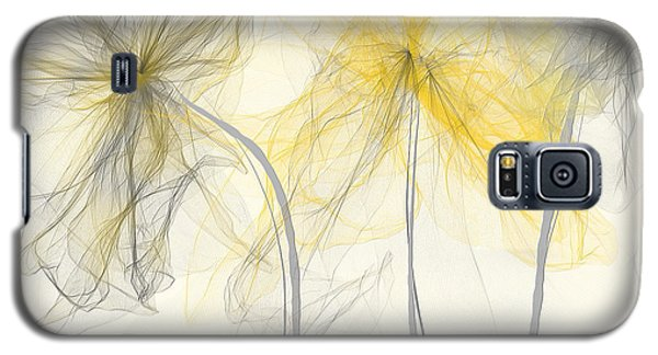 Yellow And Gray Flowers Impressionist Galaxy S5 Case by Lourry Legarde