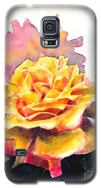 Galaxy S5 Case featuring the painting Yellow Rose Fringed In Red by Greta Corens