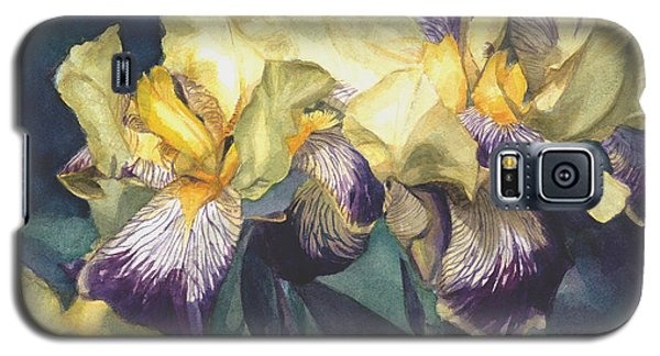 Watercolor Of A Tall Bearded Iris Painted In Yellow With Purple Veins Galaxy S5 Case
